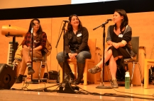 Artist panel on stage in the Koret Auditorium at ART(S)MASH 2017
