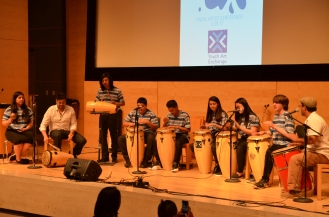 Percussion Ensemble on stage in the Koret Auditorium at ART(S)MASH 2017