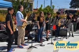 Lick-Wilmerding High School's jazz band at Ocean Avenue Block Party
