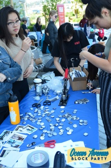 buttonmaking at Ocean Avenue Block Party