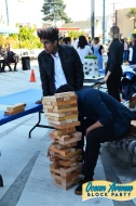 building with large wooden blocks at Ocean Avenue Block Party